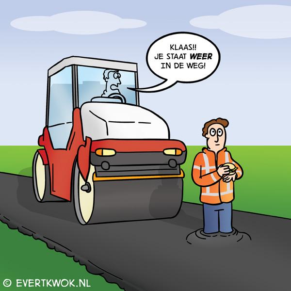 In de weg